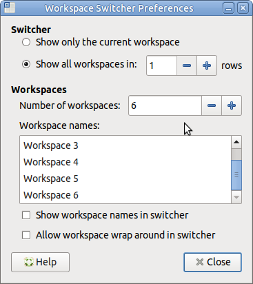 MATE desktop workspace switcher preferences.