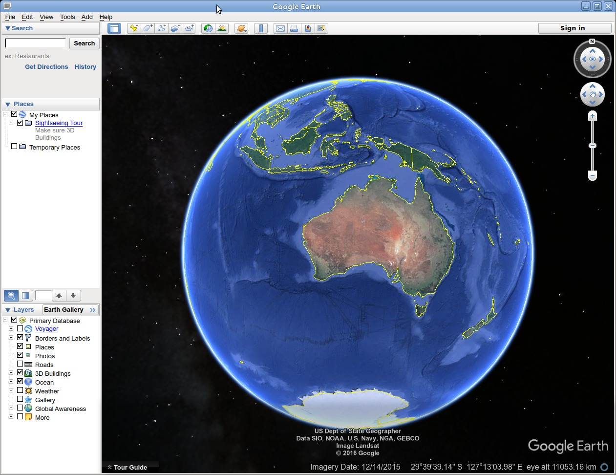 Google Earth running on Ubuntu.