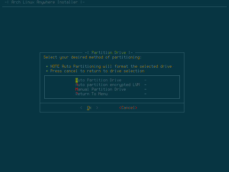 Select auto partitioning if you are installing this on a dedicated machine or a VM.