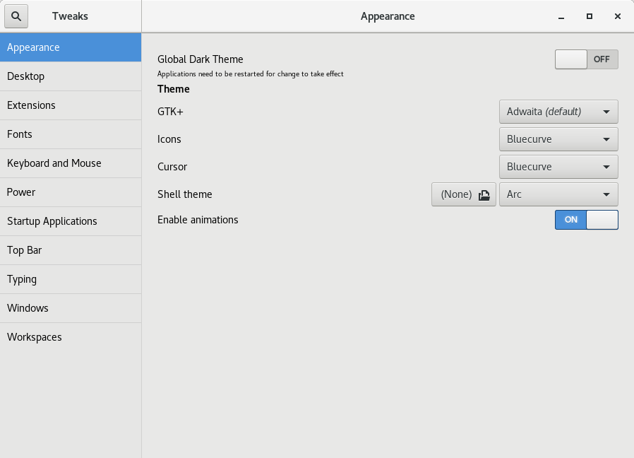 Selecting the arc theme in Gnome Tweak tool.