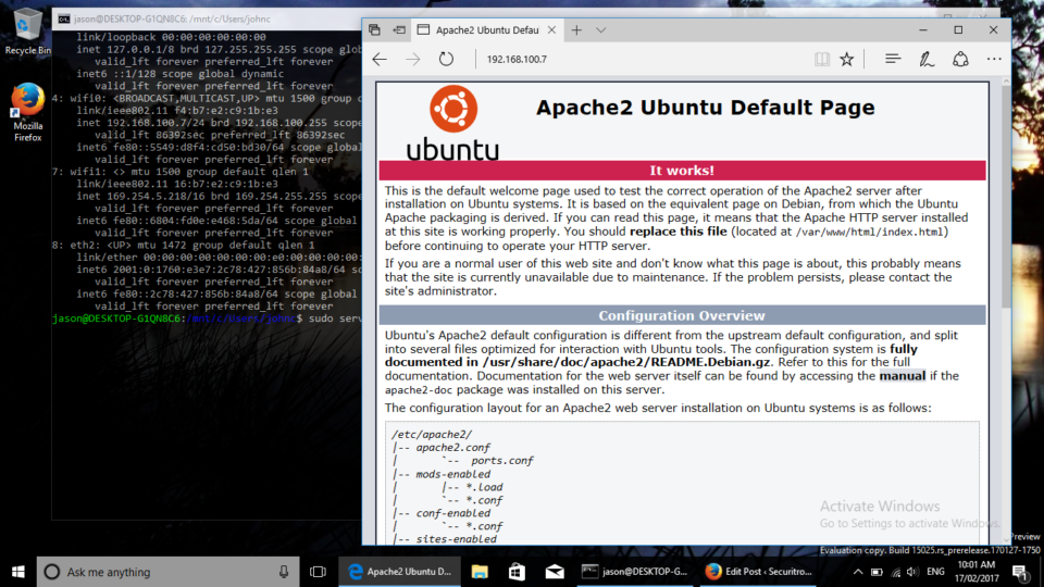 Apache web server running in the Windows 10 bash shell.