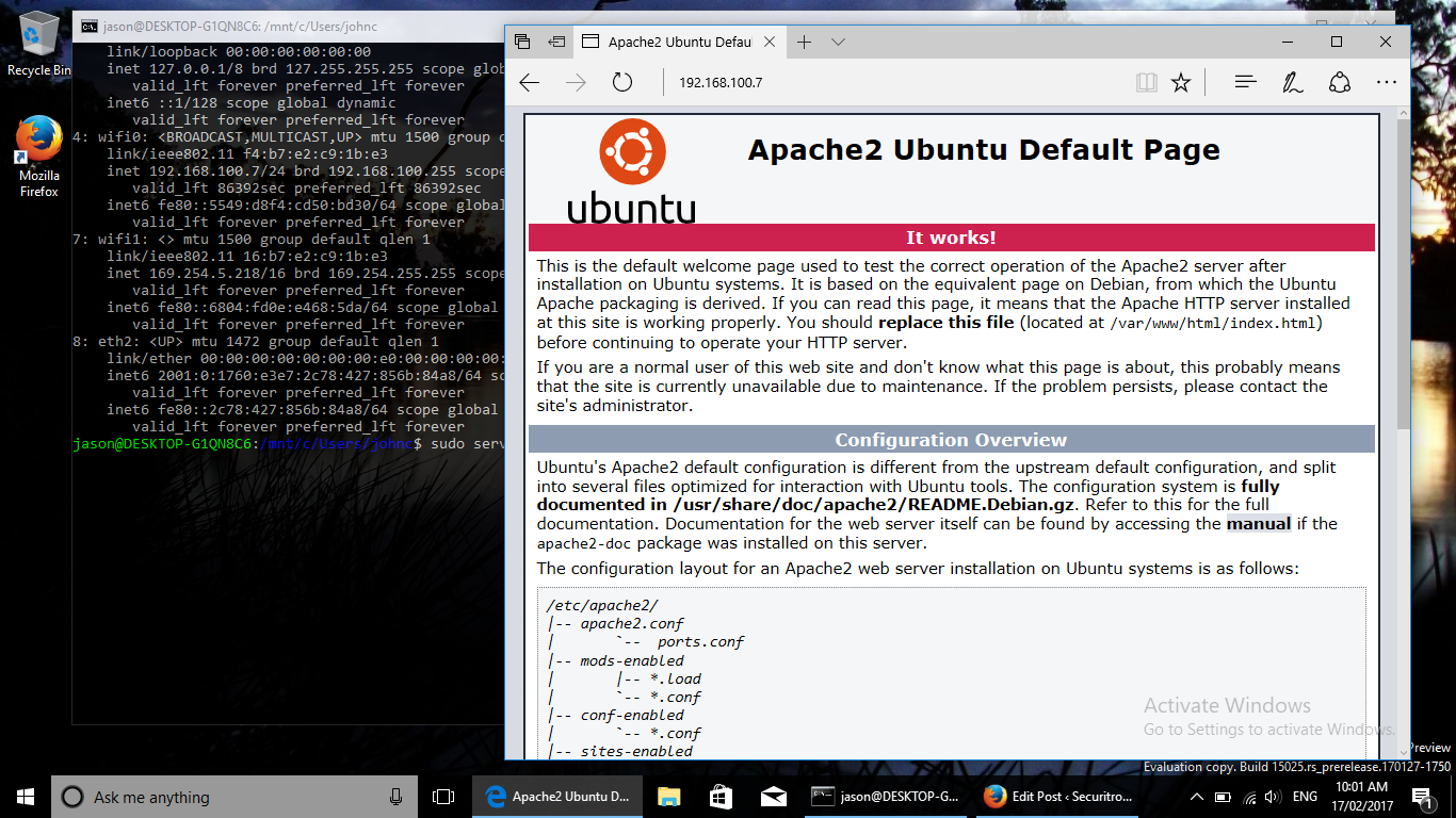 Apache web server running in the Windows 10 bash shell