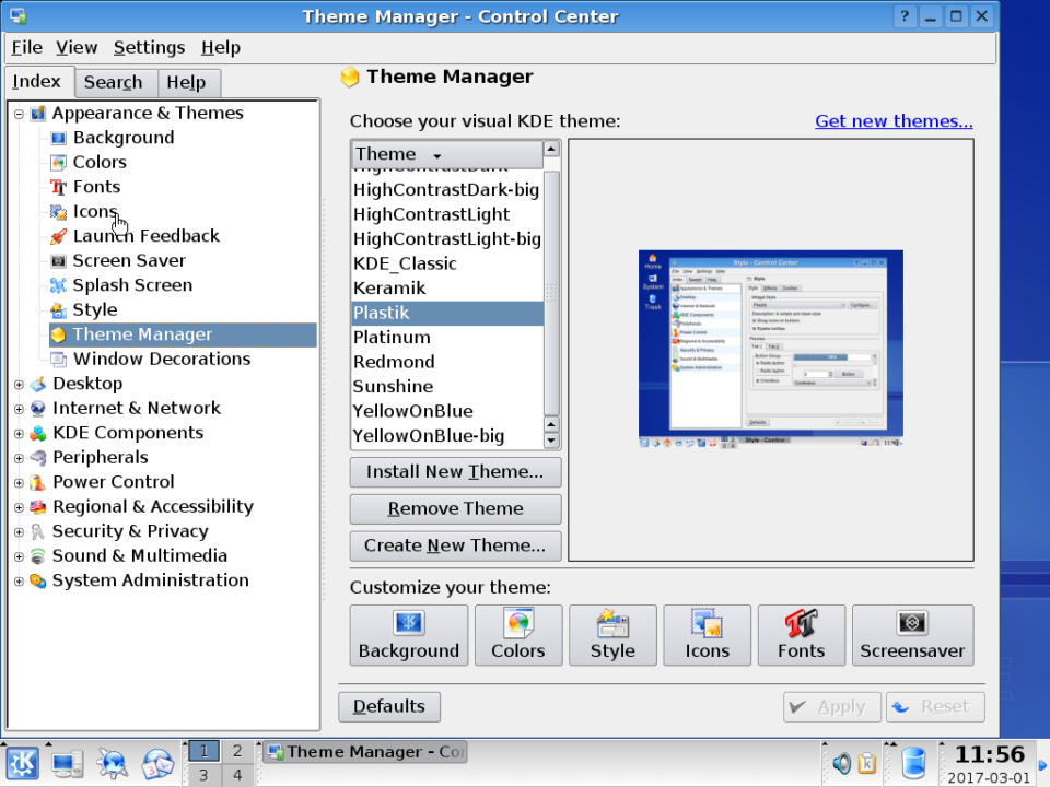 KDE 3.4 theme manager.