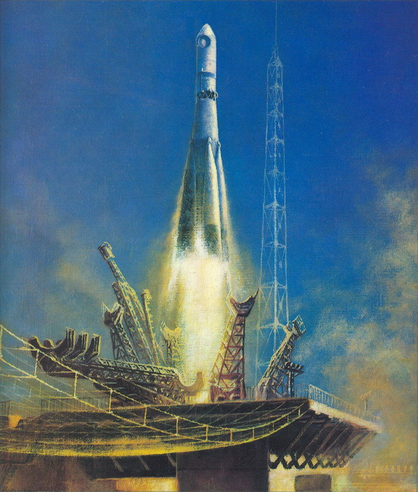 Vostok rocket launch in the USSR.