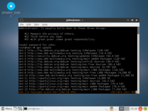Sparky Linux desktop updating package repos.