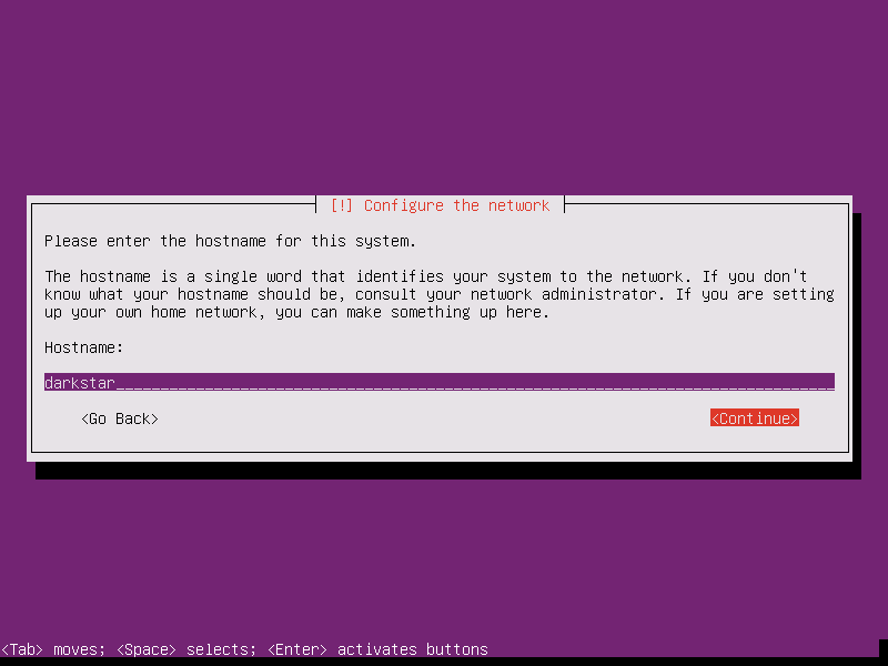 Setting a hostname for our new Ubuntu installation.
