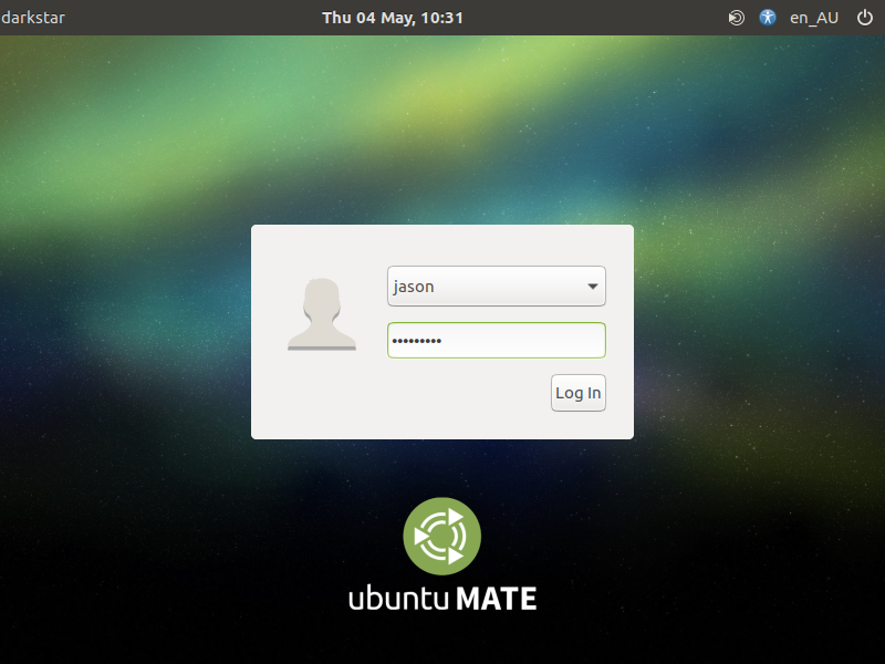 Ubuntu login screen.