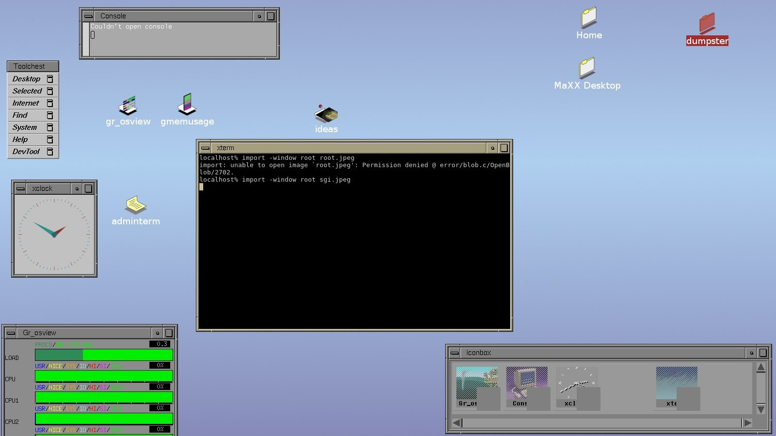 SGI UNIX desktop running on Linux.