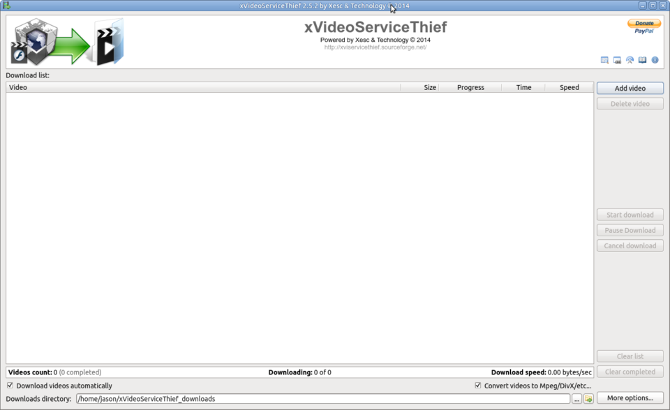 xVideoServiceThief window open.