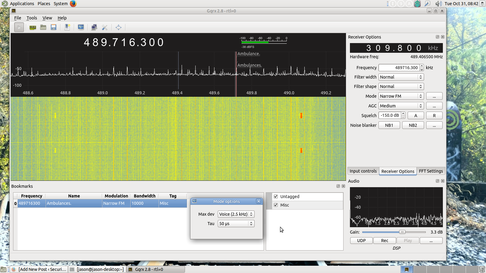 Got narrow FM reception working with gqrx  – Securitron Linux blog