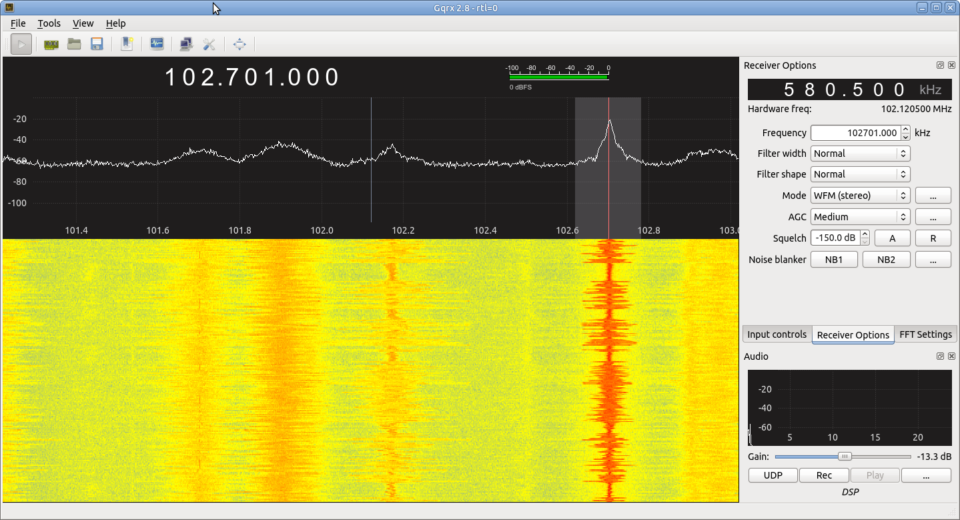 Listening to the ABC with gqrx SDR application.