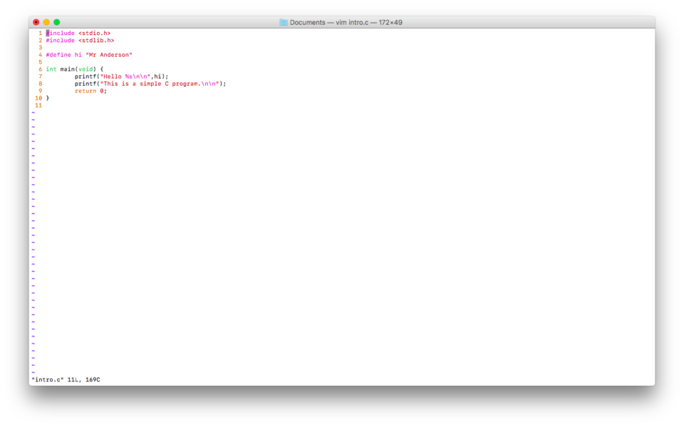 Coding on a Mac. Using VIM.
