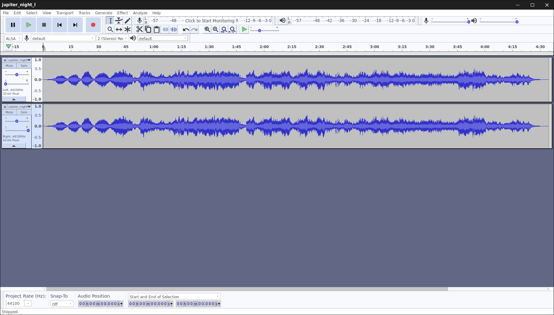 Merge left and right audio tracks into a stereo file with sox on